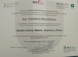 Diploma de acreditación del Curso